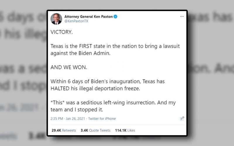 Texas AG Ken Paxton's Jan. 26, 2021 tweet.